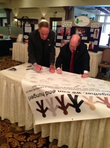 Senators signing banner